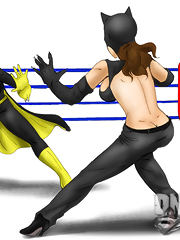 Catwoman and Batgirl have a wrestling sex match!